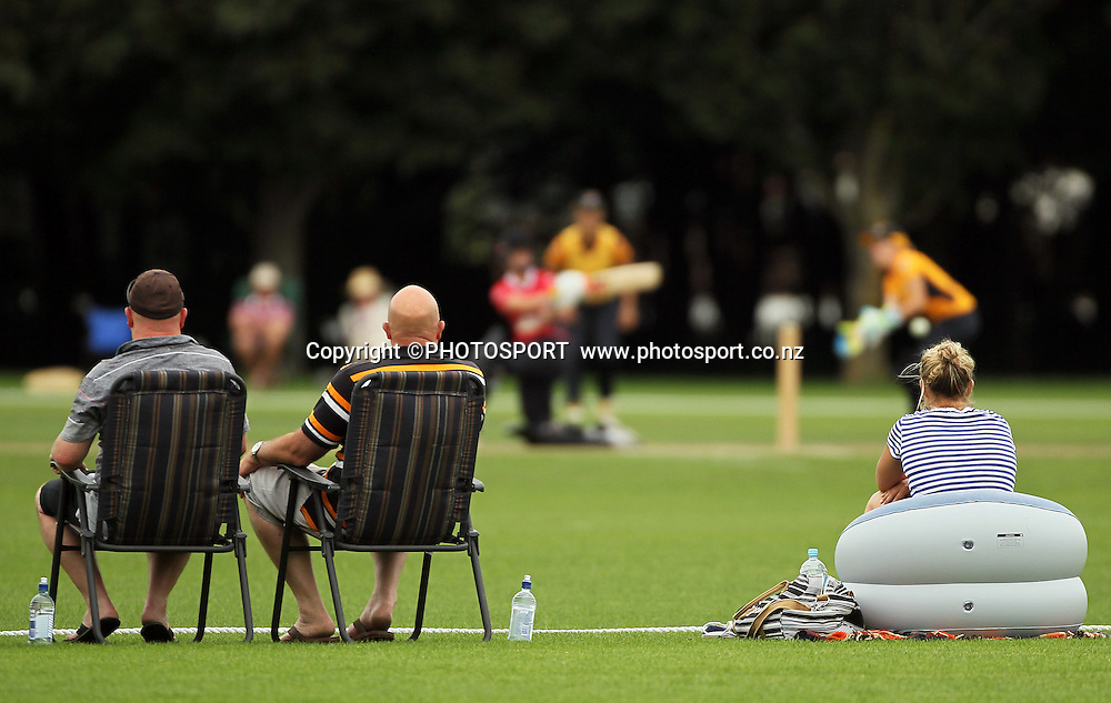 Spectators. Canterbury Magicians v Wellington Blaze. Action Cricket Twenty20, womens cricket match, Lincoln No. 3, Lincoln University, Thursday 29 December 2011. Photo : Joseph Johnson / photosport.co.nz