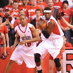 Jan 31, 2009; Piscataway, NJ, USA; Rutgers center Hamady N'Diaye (5) controls a defensive rebound during the second half of Rutgers' 75-56 victory over DePaul in NCAA college basketball at the Louis Brown Athletic Center