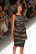 Black and silver-gray sleeveless dress in elaborately folded and pieced silk. By Carlos Miele at the Spring 2013 Mercedes-Benz Fashion Week in New York.