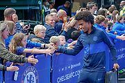 Chelsea midfielder Willian (10) arrives at Stamford Bridge and greets the supporters before the Premier League match between Chelsea and Liverpool at Stamford Bridge, London, England on 22 September 2019.