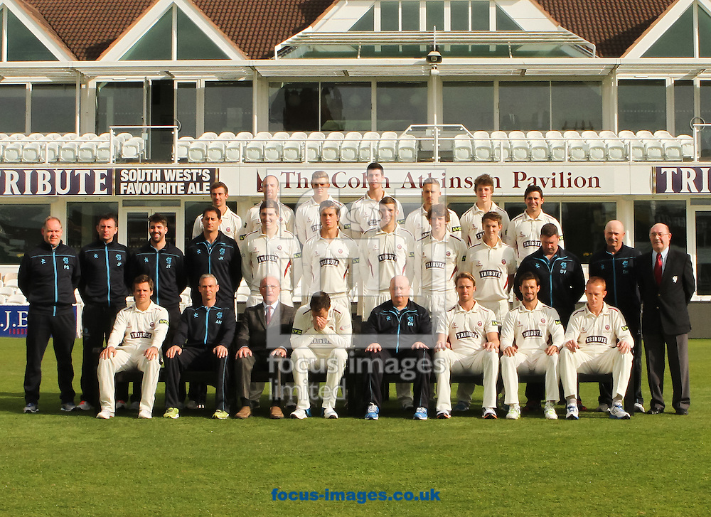 Marcus Trescothick (bottom row 4th left) of Somerset Cricket Club sneezes during the Somerset County Cricket Club squad photo at the County Ground, Taunton, Taunton<br /> Picture by Tom Smith/Focus Images Ltd 07545141164<br /> 31/03/2014