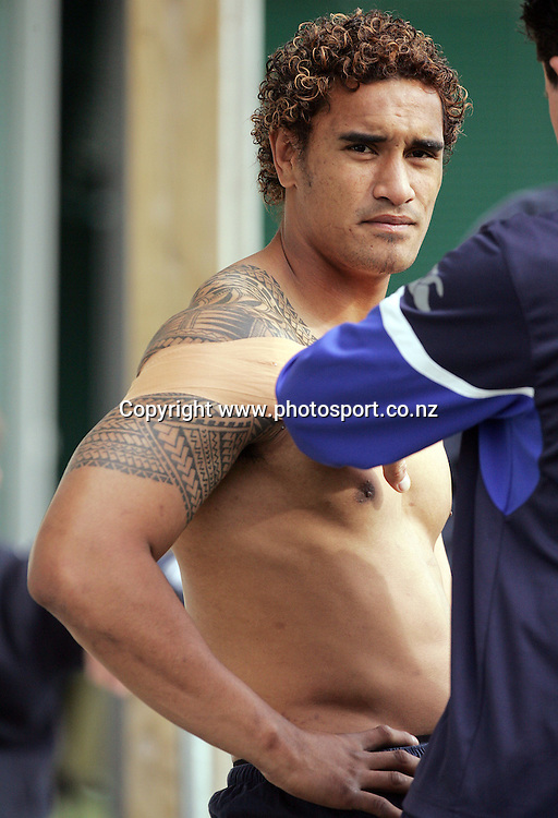 Jerome Kaino is strapped before Auckland training at Unitec, Auckland, New Zealand on Thursday 20 October, 2005. Auckland face Otago in the NPC final on Saturday night. Photo: Hannah Johnston/PHOTOSPORT<br /><br /><br /><br /><br />137504