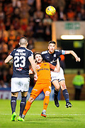 Dundee defender Cammy Kerr (#2) wins the header against Dundee United forward James Keatings (#19) during the Betfred Scottish Cup match between Dundee and Dundee United at Dens Park, Dundee, Scotland on 9 August 2017. Photo by Craig Doyle.