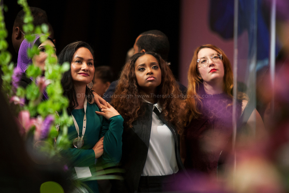 Detroit, Michigan, USA. 28th Oct, 2017. (L-R) Linda Sarsour, Carmen Perez, Tamika Mallory, and Bob Bland, the National Co-Chairs of the Women's March, listen on as Congresswoman Maxine Waters speaks at the Sojourner Truth Lunch during the Women's Convention held at the Cobo Center, Detroit Michigan, Saturday, October 28, 2017
