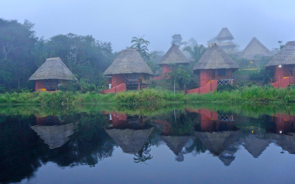 Morning fog cabins, Napo Wildlife Center, Yasuni National Park, Napo Wildlife Center, Quichua Community, Amazonia, Ecuador