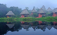 Morning fog cabins, Napo Wildlife Center, Yasuni National Park, Napo Wildlife Center, Quichua Community, Amazonia, Ecuador