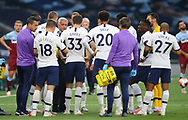 Jose Mourinho manager of Tottenham talks to his players during the drinks break during the Premier League match at the Tottenham Hotspur Stadium, London. Picture date: 23rd June 2020. Picture credit should read: David Klein/Sportimage