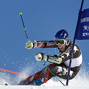 Hig Roberts, USA, in action during the Men's Giant Slalom competition at Coronet Peak, New Zealand during the Winter Games. Queenstown, New Zealand, 22nd August 2011. Photo Tim Clayton
