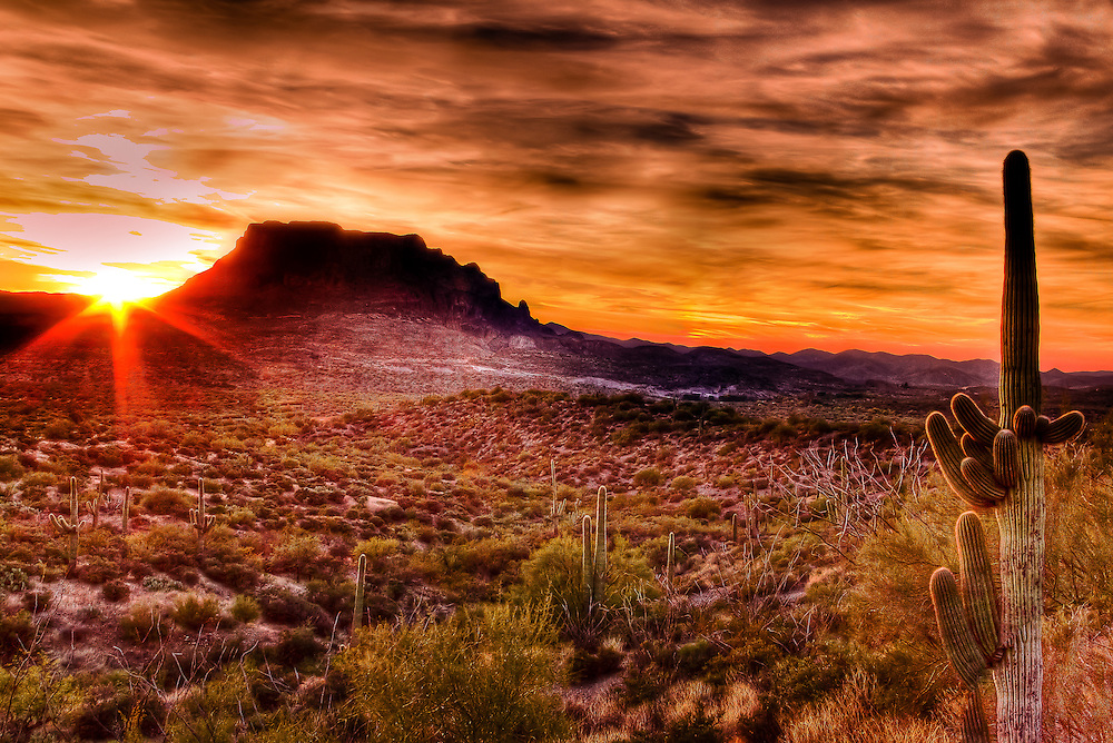 The final setting of the sun combined thorugh a gentle HDR process creats a painted desert.