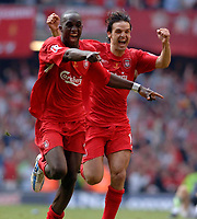 Photo: Daniel Hambury.<br />Liverpool v West Ham United. The FA Cup Final. 13/05/2006.<br />Liverpool's Fernando Morientes (R) and Mohamed Sissoko celebrate as they win the FA Cup.