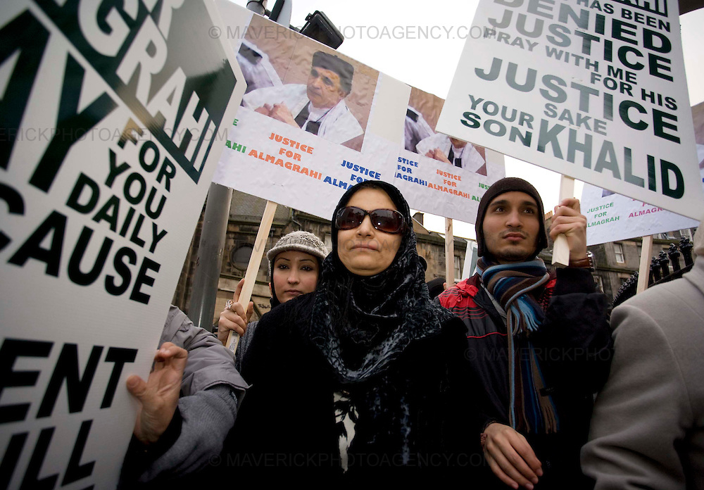 Aish wife of  Lockerbie bomber Abdelbaset Ali al-Megrahi marches on Edinburghs Royal Mile  with her son Khaled (r) and daughter Ghada (L) in a demonstration to highlight alleged miscarriages of justice...04/12/2008.Picture Michael Hughes/Maverick