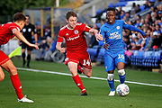 Peterborough United midfielder Siriki Dembele (10) takes on Accrington Stanley midfielder Sam Finley (14)  during the EFL Sky Bet League 1 match between Peterborough United and Accrington Stanley at London Road, Peterborough, England on 20 October 2018.