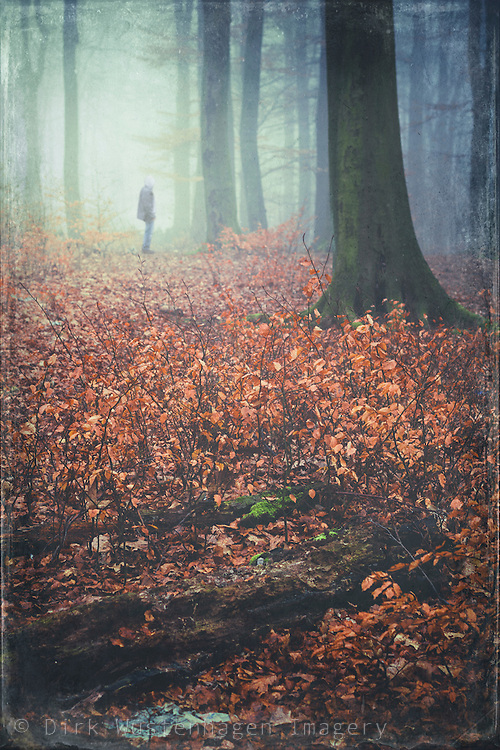 Man standing in a misty forest