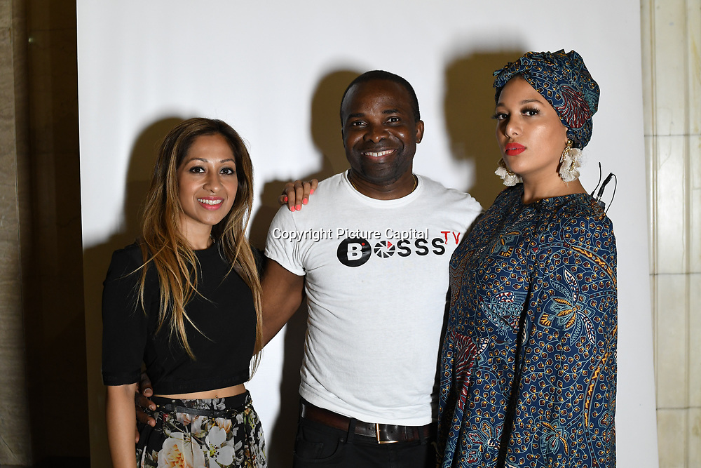 Dianne Persad , Christopher of Bosss TV team at the the Africa Fashion Week London (AFWL) at Freemasons' Hall on 11 August 2018, London, UK.