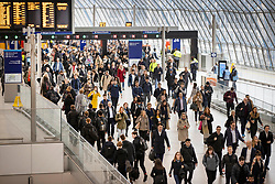 © Licensed to London News Pictures. 11/03/2020. London, UK. In this image taken on 11th March at 08:30am passengers crowd the concourse at Waterloo Station - as the Coronavirus continues to spread in the capital. Photo credit: Peter Macdiarmid/LNP