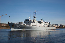 Pictured: Godetia (A960) is a command and logistical support ship of the Belgian Naval Component<br /> Ships involved in Exercise Joint Warrior, a major bi-annual multi-national military exercise which takes place in the United Kingdom. leave King George The V Docks at Shieldhall Glasgow heading up the Clyde by Braehead.  One of the largest military exercises in Europe, Joint Warrior will see maritime activity from units from Denmark, Belgium, Estonia, France, Germany, the Netherlands, Norway, Spain, Sweden, the UK and the US.<br /> <br /> Stephen Smyth| EEm 27 March 2017