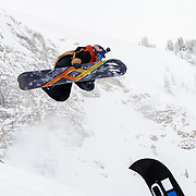 Travis Rice off the bottom jump.