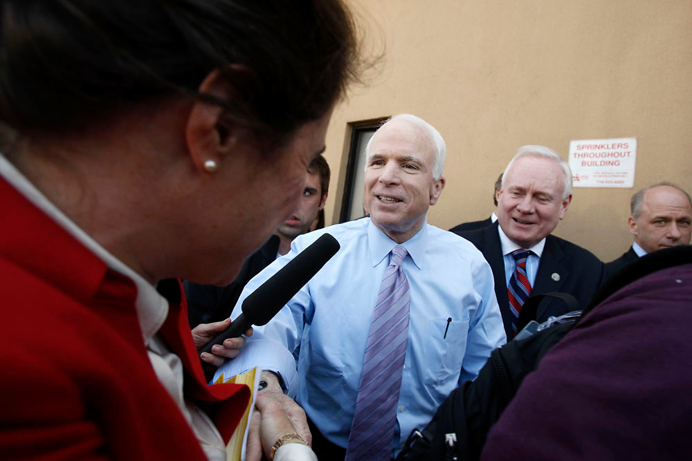 Presidential candidate John McCain stops in to speak to local businesses in Bay Ridge, Brooklyn