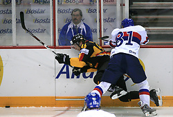Florian Busch and Marcel Hossa at ice-hockey match Germany (played in old replika jerseys from year 1946) vs Slovakia at Preliminary Round (group C) of IIHF WC 2008 in Halifax, on May 05, 2008 in Metro Center, Halifax, Nova Scotia, Canada. Germany won 4:2. (Photo by Vid Ponikvar / Sportal Images)