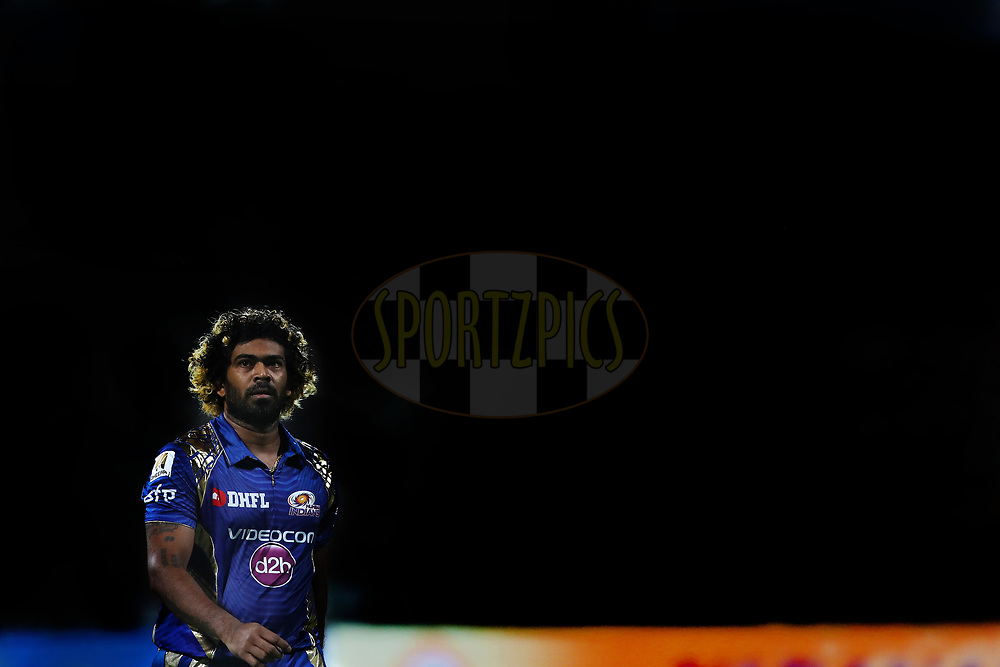 Photoshopped image of Lasith Malinga of the Mumbai Indians during the 2nd qualifier match of the Vivo 2017 Indian Premier League between the Mumbai Indians and the Kolkata Knight Riders held at the M.Chinnaswamy Stadium in Bangalore, India on the 19th May 2017<br /> <br /> Photo by Ron Gaunt - Sportzpics - IPL