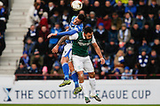 St Johnstones Joe Shaughnessy jumps for the kick out  during the Scottish League Cup semi-final match between Hibernian and St Johnstone at Tynecastle Stadium, Gorgie, Scotland on 30 January 2016. Photo by Craig McAllister.