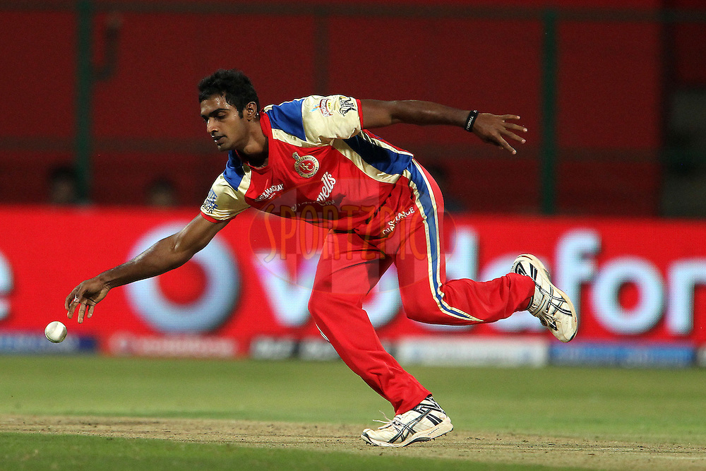 Abhimany Mithun during match 8 of the the Indian Premier League ( IPL ) Season 4 between the Royal Challengers Bangalore and the Mumbai Indians held at the Chinnaswamy Stadium, Bangalore, Karnataka, India on the 12th April 2011..Photo by Ron Gaunt/BCCI/SPORTZPICS