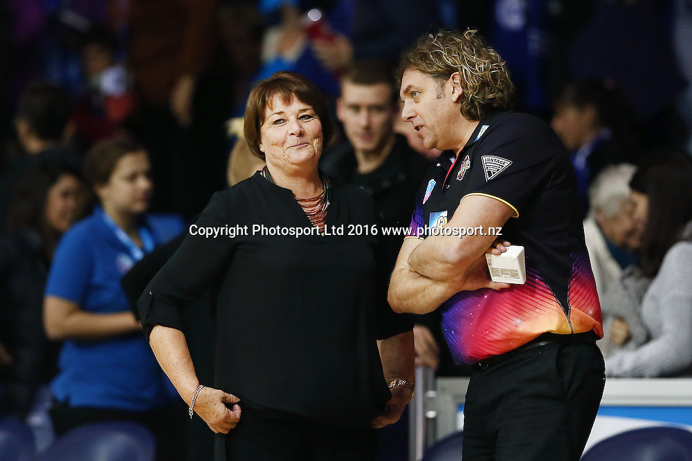 Head Coach Julie Fitzgerald of the Magic is delighted after the win as she talks to Team Physiotherapist Roger Athy-Knibbs. 2016 ANZ Championship, Northern Mystics v Waikato BOP Magic, The Trusts Arena, Auckland, New Zealand. 6 June 2016. Photo: Anthony Au-Yeung / www.photosport.nz