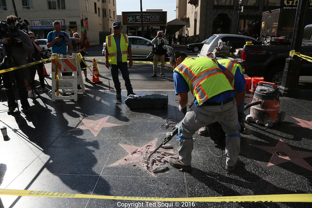 Donald Trump's star on the Hollywood Walk of Fame was defaced. The star was removed and replaced with an identical star later in the day.