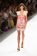 Sparkly dress with eyelet lace hem. By Custo Barcelona at the Spring 2013 Fashion Week show in New York.