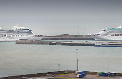 © Licensed to London News Pictures. 17/04/2020. Dover, UK. Two P&O cruise ships are berthed at Dover docks in Kent. Europe's busiest port remains open with freight traffic continuing to run - but P&O have suspended all passenger services between Dover and Calais. The government have announced that lockdown will continue for another three weeks. The public have been told they can only leave their homes when absolutely essential, in an attempt to fight the spread of coronavirus COVID-19 disease. Photo credit: Peter Macdiarmid/LNP