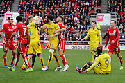 Unrest between the two teams during the EFL Sky Bet Championship match between Bristol City and Burton Albion at Ashton Gate, Bristol, England on 4 March 2017. Photo by Richard Holmes.