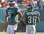 Donovan McNabb and Brian Westbrook talk during the game between the Philadelphia Eagles and the Atlanta Falcons at Lincoln Financial Field in Philadelphia, Pennsylvania on October 26, 2008.
