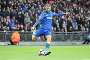 AFC Wimbledon defender George Francomb (7) crossing the ball during the The FA Cup 3rd round match between Tottenham Hotspur and AFC Wimbledon at Wembley Stadium, London, England on 7 January 2018. Photo by Matthew Redman.