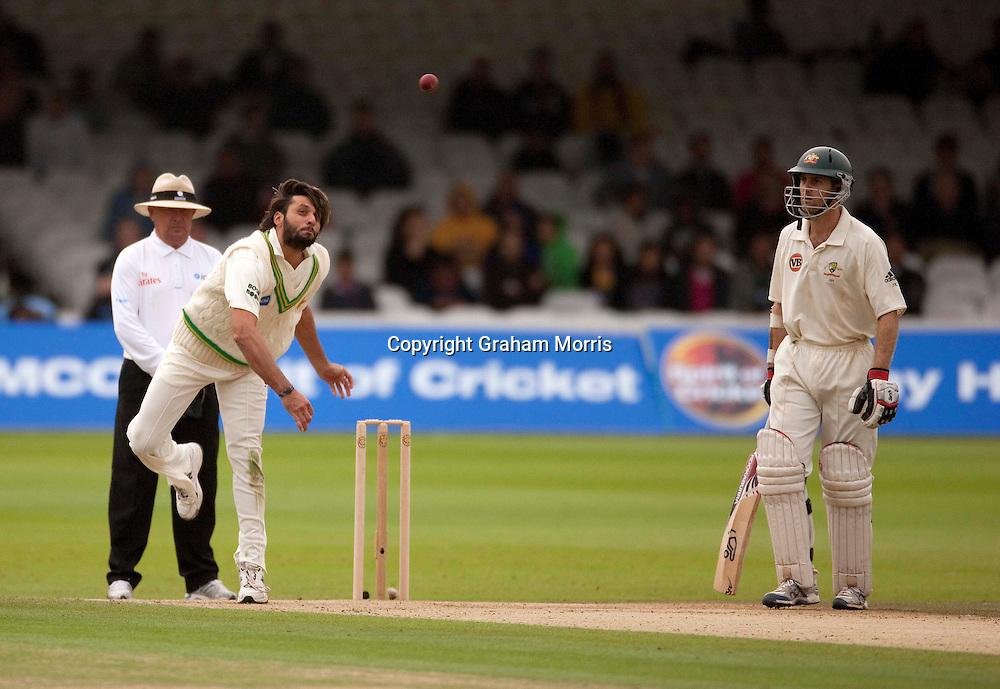 Shahid Afridi bowls past batsman Simon Katich during the MCC Spirit of Cricket Test Match between Pakistan and Australia at Lord's.  Photo: Graham Morris (Tel: +44(0)20 8969 4192 Email: sales@cricketpix.com) 15/07/10
