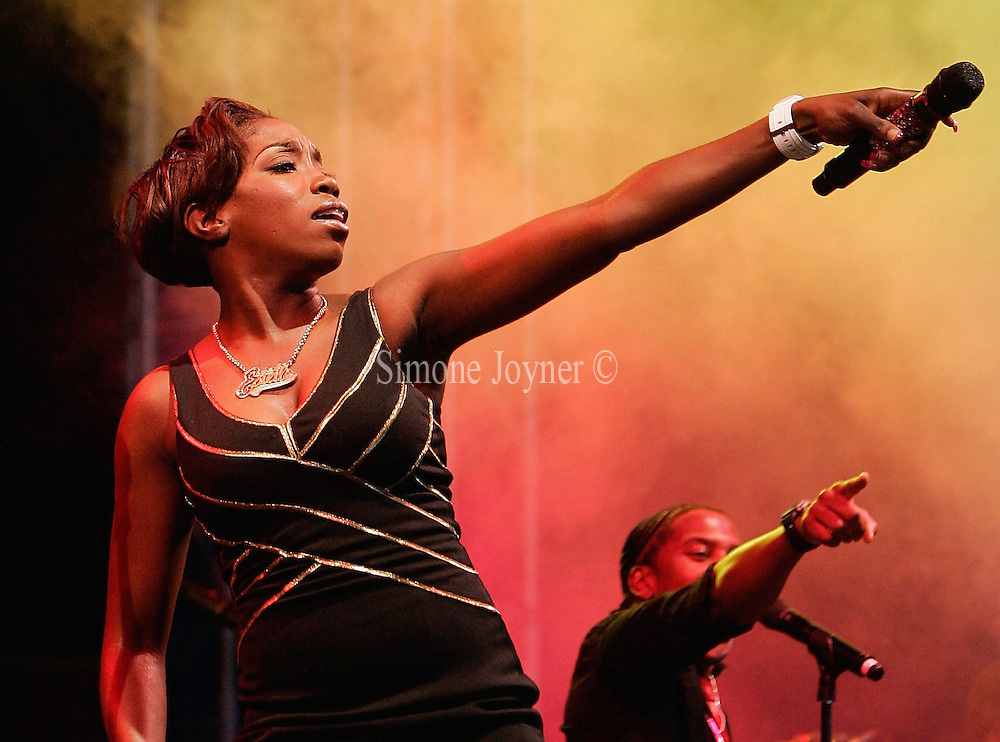 Estelle performs live on the V stage during Day one of V Festival 2008 at Hylands Park on August 16, 2008 in Chelmsford, England.  (Photo by Simone Joyner)