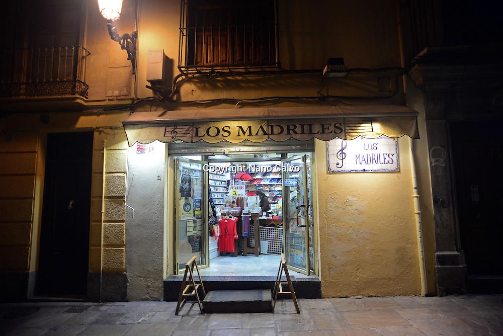 Souvenir shop at night in Granada, Spain
