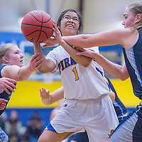 Valley Sanders Pirate Cheyenne Six (1) is fouled by the Gregory School Hawks as she drives to the hoop Saturday at Prescott High School.