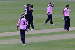 Ian Cockbain (capt) of Gloucestershire is congratulated by Geraint Jones of Gloucestershire after the game - Photo mandatory by-line: Dougie Allward/JMP - Mobile: 07966 386802 - 15/05/2015 - SPORT - Cricket - Bristol - Bristol County Ground - Gloucestershire County Cricket v Middlesex County Cricket - NatWest T20 Blast