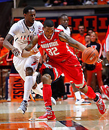CHAMPAIGN, IL - JANUARY 05: Lenzelle Smith, Jr. #32 of the Ohio State Buckeyes dribbles the ball against D.J. Richardson #1 of the Illinois Fighting Illini at Assembly Hall on January 5, 2013 in Champaign, Illinois. Ilinois defeated Ohio State 74-55. (Photo by Michael Hickey/Getty Images) *** Local Caption *** Lenzelle Smith; D.J. Richardson