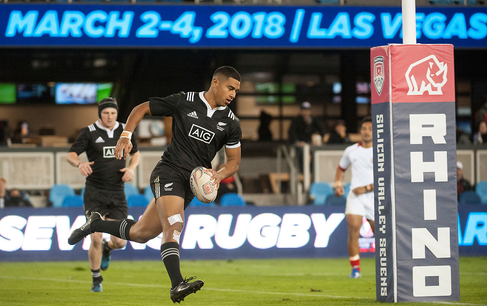 New Zealand play Tonga at the Silicon Valley Sevens in San Jose, California. November 4, 2017. <br /> <br /> By Jack Megaw.<br /> <br /> NZLTON<br /> <br /> <br /> <br /> www.jackmegaw.com<br /> <br /> jack@jackmegaw.com<br /> @jackmegawphoto<br /> [US] +1 610.764.3094<br /> [UK] +44 07481 764811