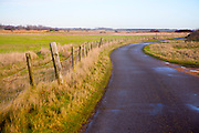Narrow winding country tarmac road leading into the distance at Shingle Street, Hollesley, Suffolk, England