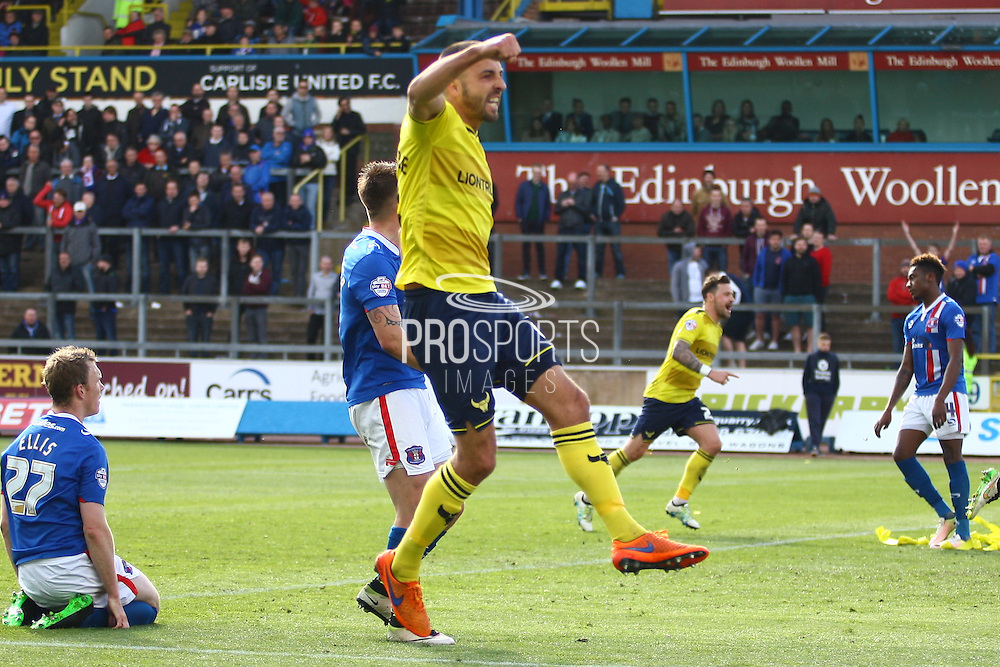 Oxford midfielder Liam Sercombe celebrates the goal during the Sky Bet League 2 match between Carlisle United and Oxford United at Brunton Park, Carlisle, England on 30 April 2016. Photo by Craig McAllister.