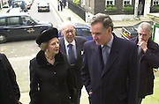 Baroness Thatcher, Dennis Thatcher and Jonathan Aitken. Service of Thanksgiving For John Aspinall, St. John's Smith Sq. London. f© Copyright Photograph by Dafydd Jones 66 Stockwell Park Rd. London SW9 0DA Tel 020 7733 0108 www.dafjones.com