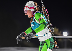 February 12, 2018 - Pyeongchang, Gangwon, South Korea - Iryna Kryuko ofBelarus competing at Women's 10km Pursuit, Biathlon, at olympics at Alpensia biathlon stadium, Pyeongchang, South Korea. on February 12, 2018. (Credit Image: © Ulrik Pedersen/NurPhoto via ZUMA Press)