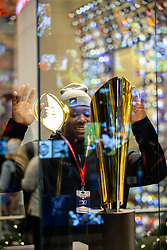 The Louisiana State Tigers tour the College Football Hall of Fame on Monday, Dec. 23, 2019, in Atlanta. LSU will face Oklahoma in the 2019 College Football Playoff Semifinal at the Chick-fil-A Peach Bowl. (Jason Parkhurst via Abell Images for the Chick-fil-A Peach Bowl)