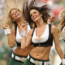 Nov 15, 2009; East Rutherford, NJ, USA; Members of the Jets Flight Crew cheerleaders perform during first half NFL action between the New York Jets and Jacksonville Jaguars at Giants Stadium.