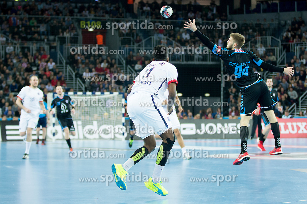 Domagoj Pavlovic #94 of PPD Zagreb during handball match between PPD Zagreb (CRO) and Paris Saint-Germain (FRA) in 11th Round of Group Phase of EHF Champions League 2015/16, on February 10, 2016 in Arena Zagreb, Zagreb, Croatia. Photo by Urban Urbanc / Sportida