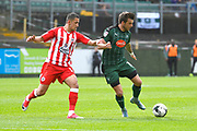 Noor Husin (16) of Accrington Stanley chases Graham Carey (10) of Plymouth Argyle during the EFL Sky Bet League 2 match between Plymouth Argyle and Accrington Stanley at Home Park, Plymouth, England on 1 April 2017. Photo by Graham Hunt.