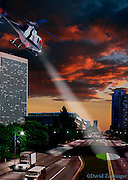 Century City CA, Helicopter, Dramatic, Architecture, Buildings, Night, Sunset
