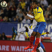 Luis Canga, Ecuador, heads clear during the USA Vs Ecuador International match at Rentschler Field, Hartford, Connecticut. USA. 10th October 2014. Photo Tim Clayton